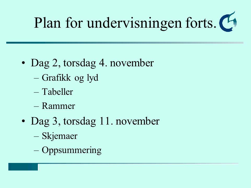 Plan for undervisningen forts. Dag 2, torsdag 4. november –Grafikk og lyd –Tabeller –Rammer Dag 3, torsdag 11. november –Skjemaer –Oppsummering