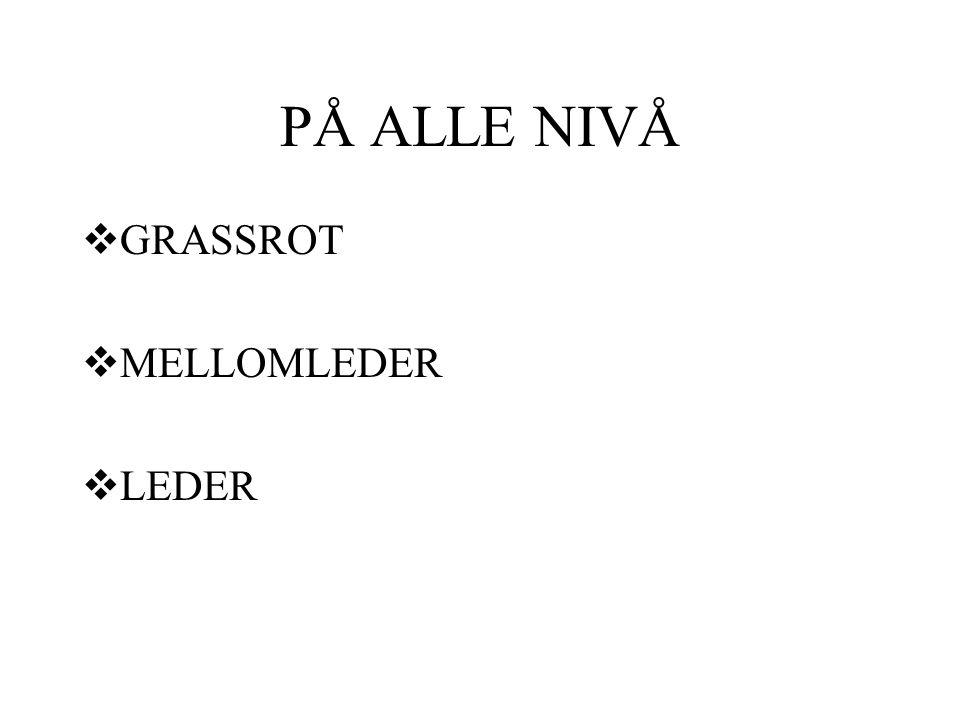 PÅ ALLE NIVÅ  GRASSROT  MELLOMLEDER  LEDER
