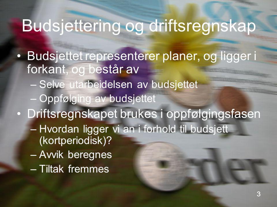 3 Budsjettering og driftsregnskap Budsjettet representerer planer, og ligger i forkant, og består av –Selve utarbeidelsen av budsjettet –Oppfølging av