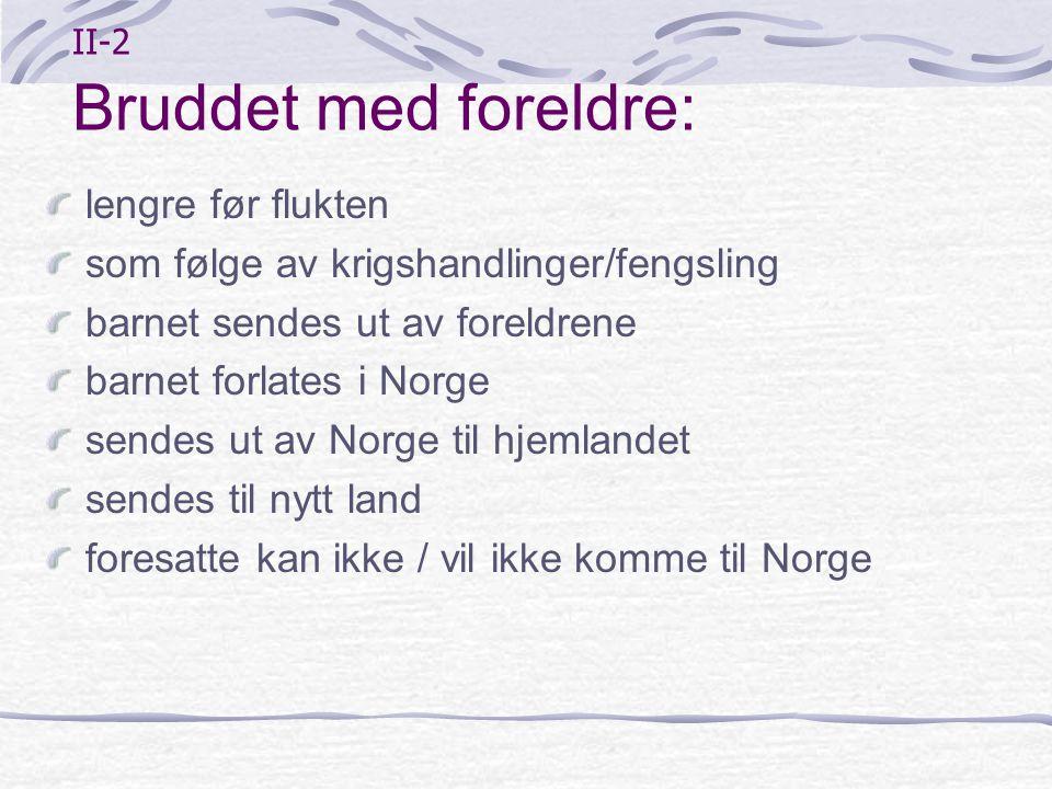 II-2 Bruddet med foreldre: lengre før flukten som følge av krigshandlinger/fengsling barnet sendes ut av foreldrene barnet forlates i Norge sendes ut
