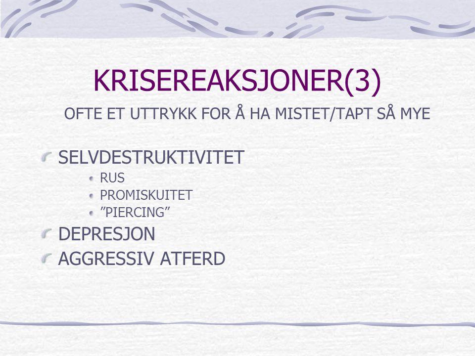 """KRISEREAKSJONER(3) OFTE ET UTTRYKK FOR Å HA MISTET/TAPT SÅ MYE SELVDESTRUKTIVITET RUS PROMISKUITET """"PIERCING"""" DEPRESJON AGGRESSIV ATFERD"""