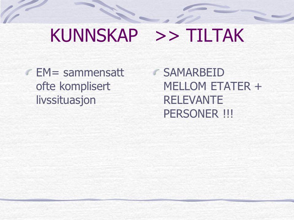 KUNNSKAP >> TILTAK EM= sammensatt ofte komplisert livssituasjon SAMARBEID MELLOM ETATER + RELEVANTE PERSONER !!!