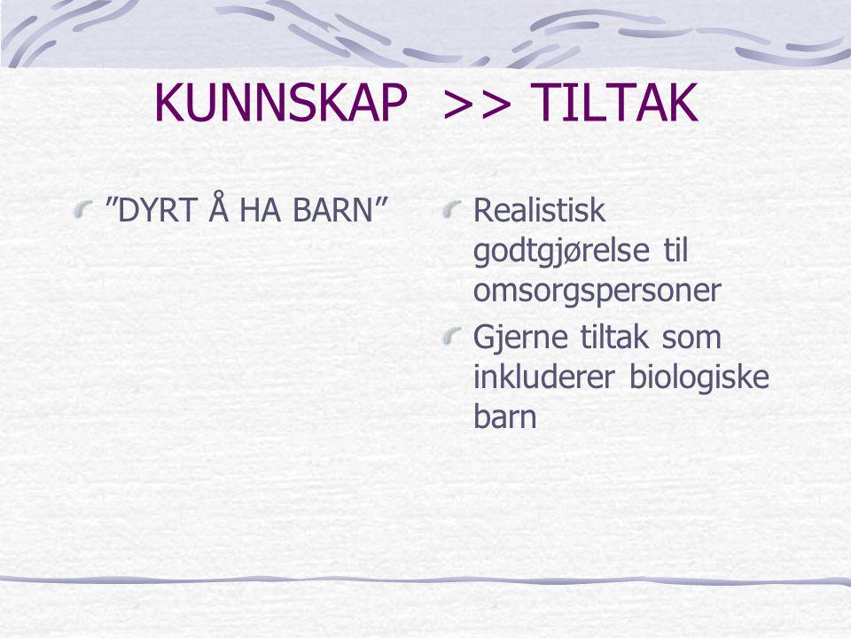 """KUNNSKAP >> TILTAK """"DYRT Å HA BARN"""" Realistisk godtgjørelse til omsorgspersoner Gjerne tiltak som inkluderer biologiske barn"""