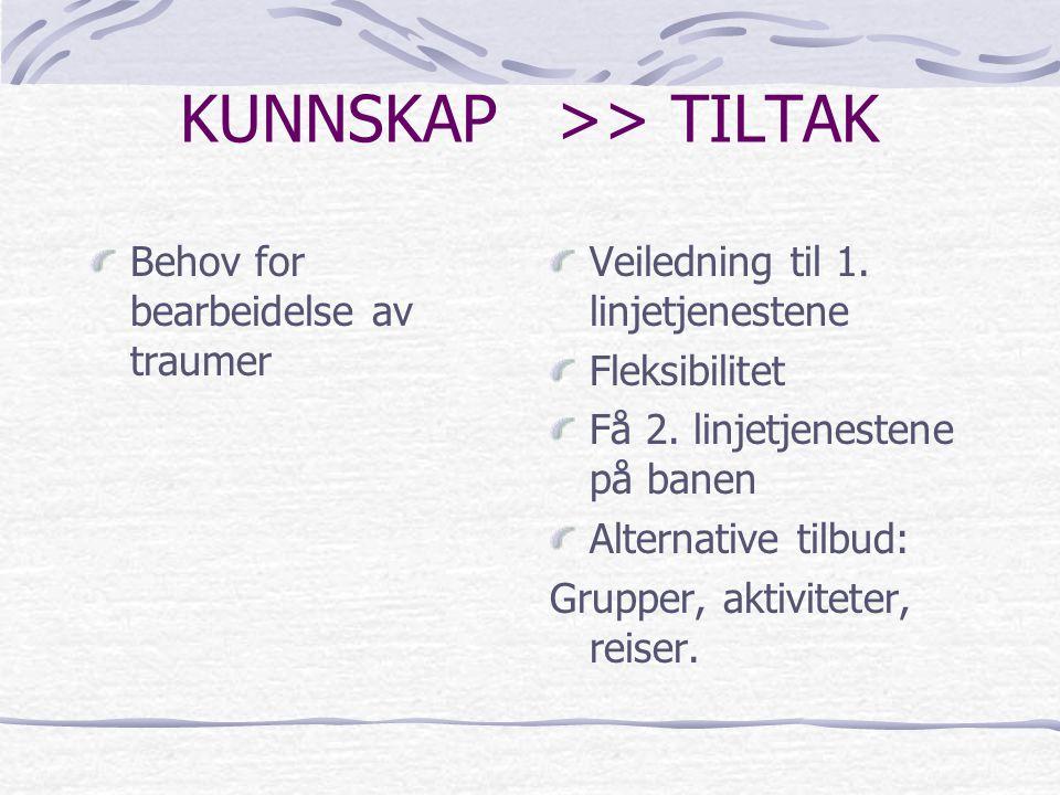 KUNNSKAP >> TILTAK Behov for bearbeidelse av traumer Veiledning til 1. linjetjenestene Fleksibilitet Få 2. linjetjenestene på banen Alternative tilbud