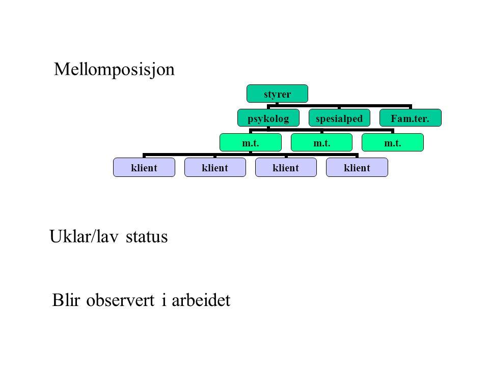 Uklar/lav status Mellomposisjon styrer psykolog m.t.