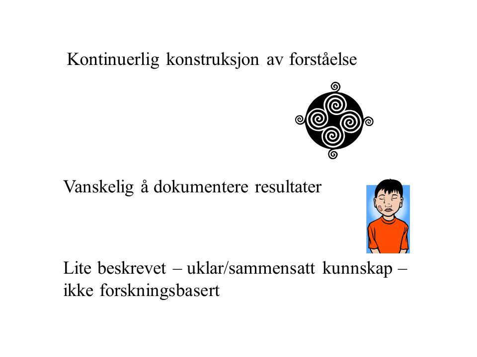 Kontinuerlig konstruksjon av forståelse Vanskelig å dokumentere resultater Lite beskrevet – uklar/sammensatt kunnskap – ikke forskningsbasert