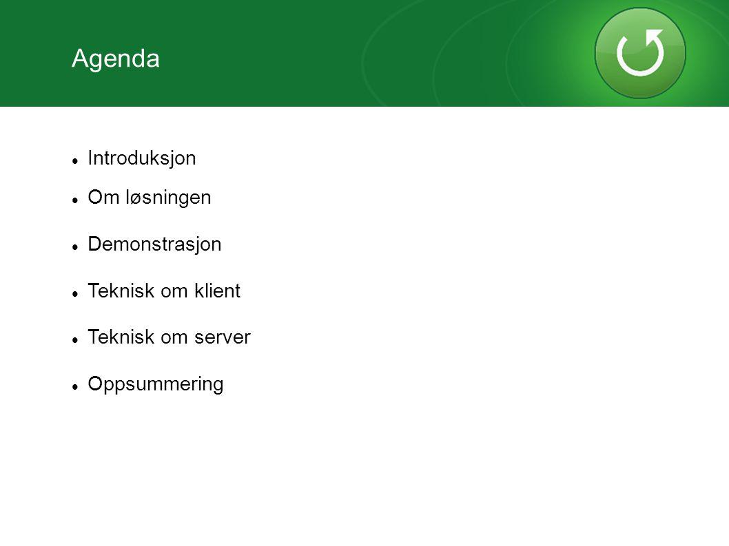 Introduksjon Om løsningen Demonstrasjon Teknisk om klient Teknisk om server Oppsummering Agenda