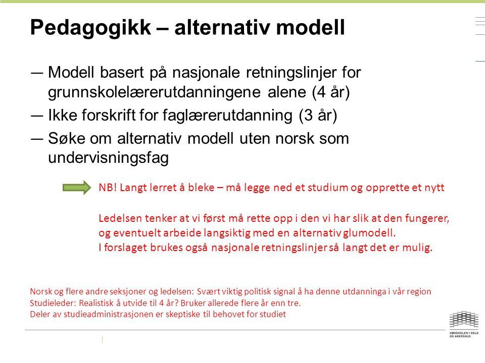 Pedagogikk – alternativ modell — Modell basert på nasjonale retningslinjer for grunnskolelærerutdanningene alene (4 år) — Ikke forskrift for faglæreru