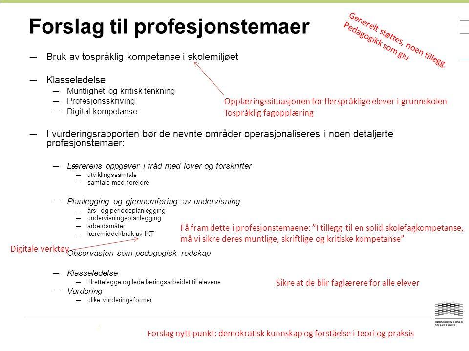 Forslag til profesjonstemaer — Bruk av tospråklig kompetanse i skolemiljøet — Klasseledelse — Muntlighet og kritisk tenkning — Profesjonsskriving — Di