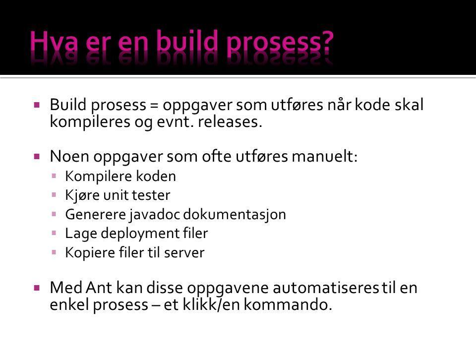  Build prosess = oppgaver som utføres når kode skal kompileres og evnt.