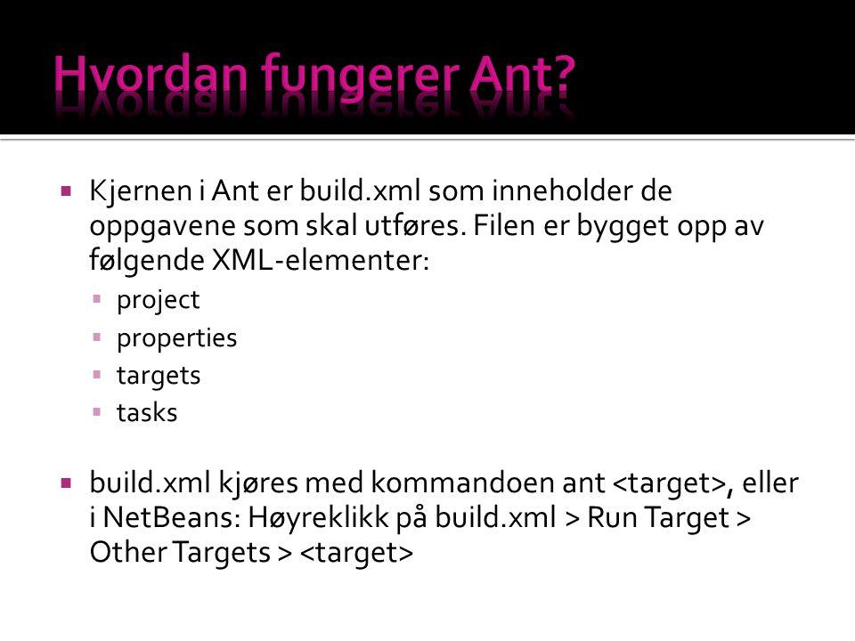  Kjernen i Ant er build.xml som inneholder de oppgavene som skal utføres.