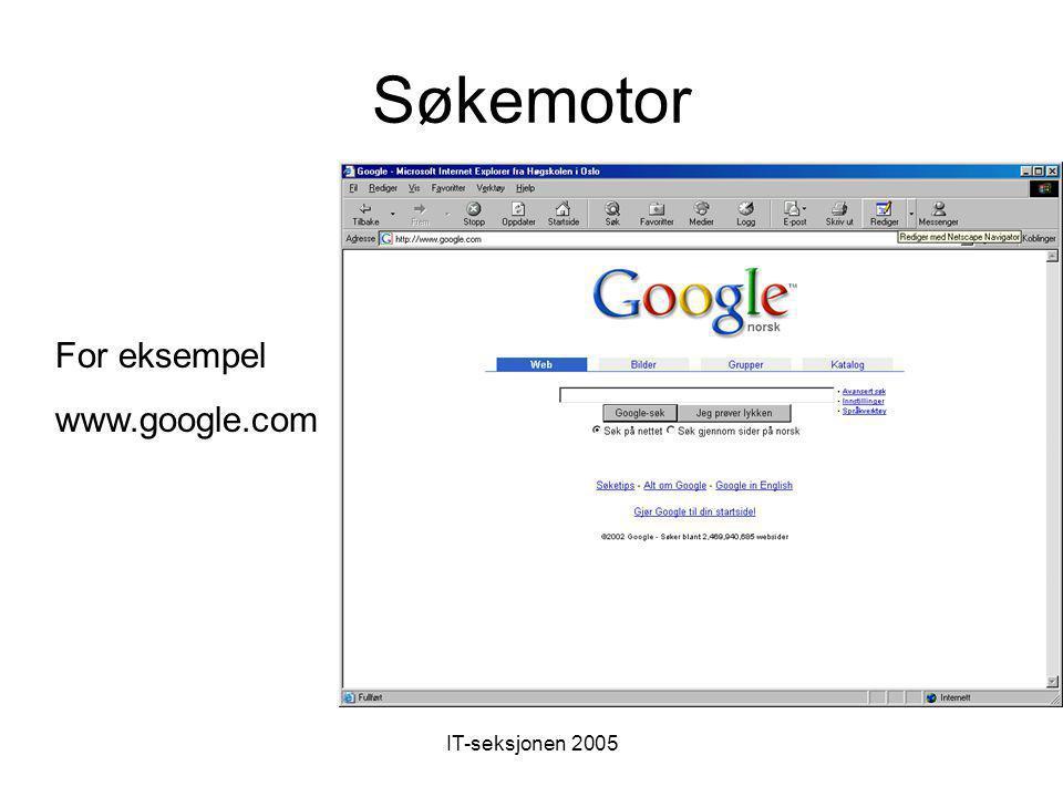 IT-seksjonen 2005 Portaler og startsider Viktig og nyttig generell startside –startsiden: http://www.startsiden.no/ http://www.startsiden.no/ HiO's læ