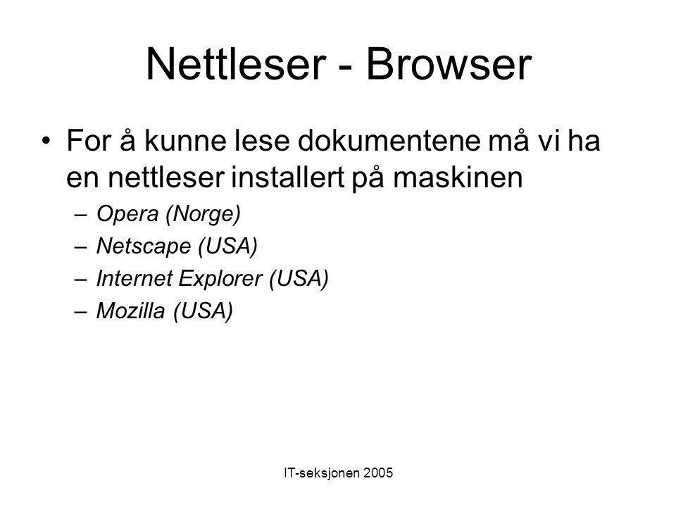 Nettleser - Browser For å kunne lese dokumentene må vi ha en nettleser installert på maskinen –Opera (Norge) –Netscape (USA) –Internet Explorer (USA) –Mozilla (USA)