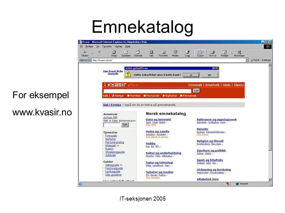 IT-seksjonen 2005 Absolutt adressering http://www.nrk.no http://www.nrk.no/magasin/musikk/ www.barnehagenett.no http://skolenettet.ls.no/imaker id=30174&malgruppe=0&trinn=0
