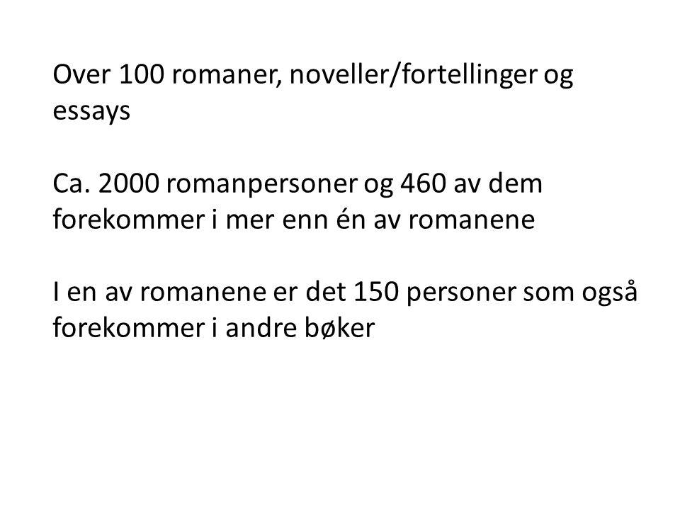 Over 100 romaner, noveller/fortellinger og essays Ca. 2000 romanpersoner og 460 av dem forekommer i mer enn én av romanene I en av romanene er det 150