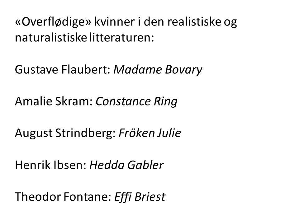 «Overflødige» kvinner i den realistiske og naturalistiske litteraturen: Gustave Flaubert: Madame Bovary Amalie Skram: Constance Ring August Strindberg
