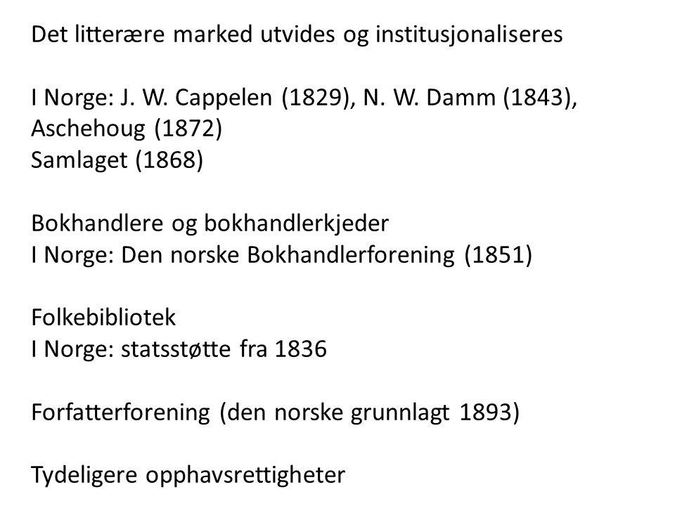 Det litterære marked utvides og institusjonaliseres I Norge: J. W. Cappelen (1829), N. W. Damm (1843), Aschehoug (1872) Samlaget (1868) Bokhandlere og