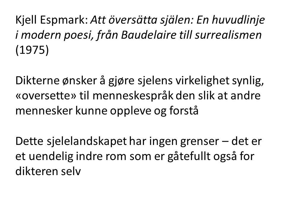 Kjell Espmark: Att översätta själen: En huvudlinje i modern poesi, från Baudelaire till surrealismen (1975) Dikterne ønsker å gjøre sjelens virkelighe