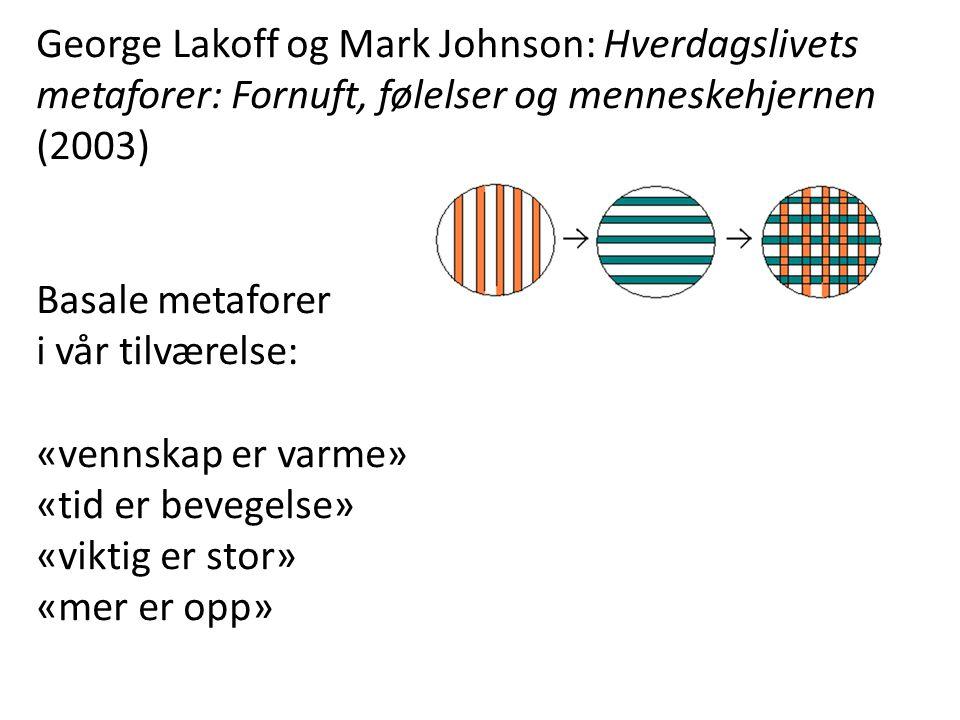George Lakoff og Mark Johnson: Hverdagslivets metaforer: Fornuft, følelser og menneskehjernen (2003) Basale metaforer i vår tilværelse: «vennskap er varme» «tid er bevegelse» «viktig er stor» «mer er opp»