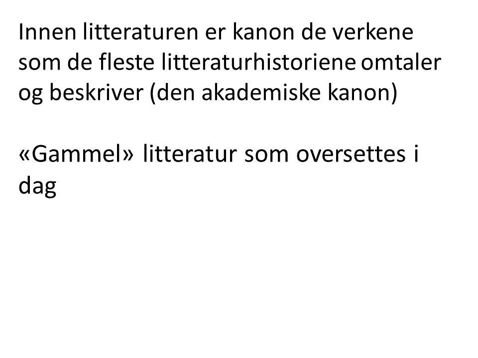 Innen litteraturen er kanon de verkene som de fleste litteraturhistoriene omtaler og beskriver (den akademiske kanon) «Gammel» litteratur som oversettes i dag