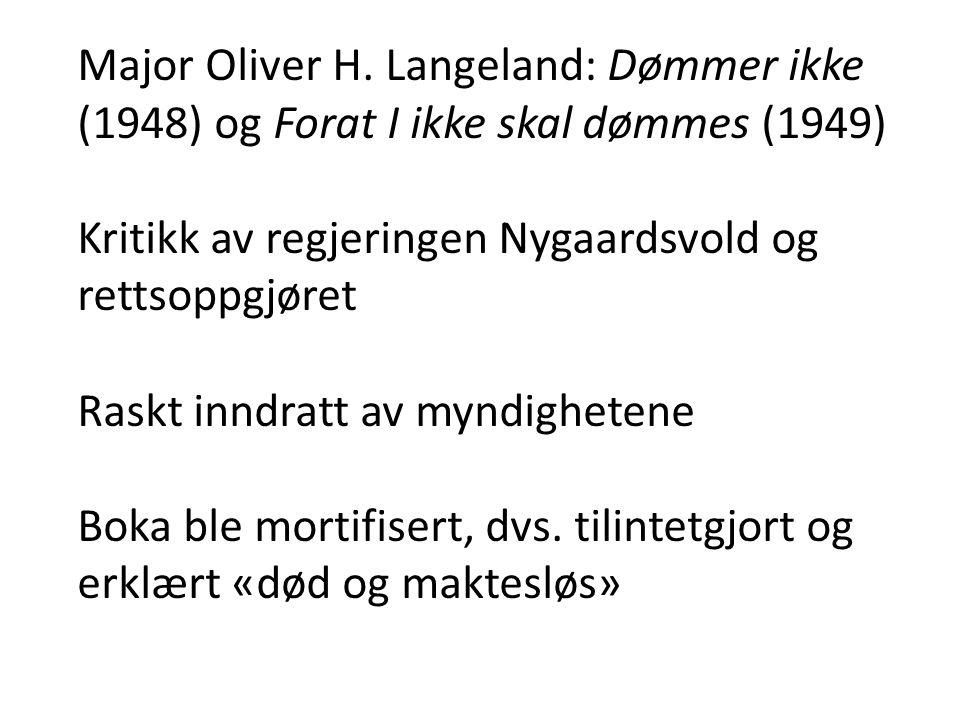 Major Oliver H. Langeland: Dømmer ikke (1948) og Forat I ikke skal dømmes (1949) Kritikk av regjeringen Nygaardsvold og rettsoppgjøret Raskt inndratt
