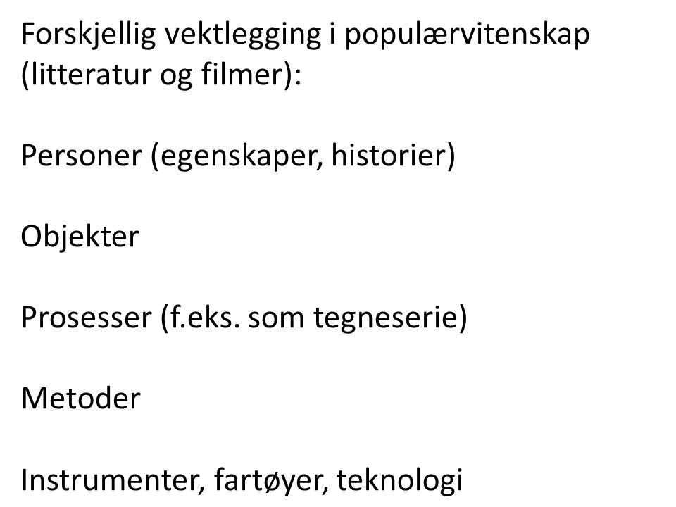 Forskjellig vektlegging i populærvitenskap (litteratur og filmer): Personer (egenskaper, historier) Objekter Prosesser (f.eks. som tegneserie) Metoder