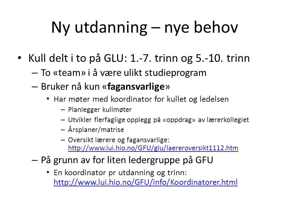 Ny utdanning – nye behov Kull delt i to på GLU: 1.-7. trinn og 5.-10. trinn – To «team» i å være ulikt studieprogram – Bruker nå kun «fagansvarlige» H