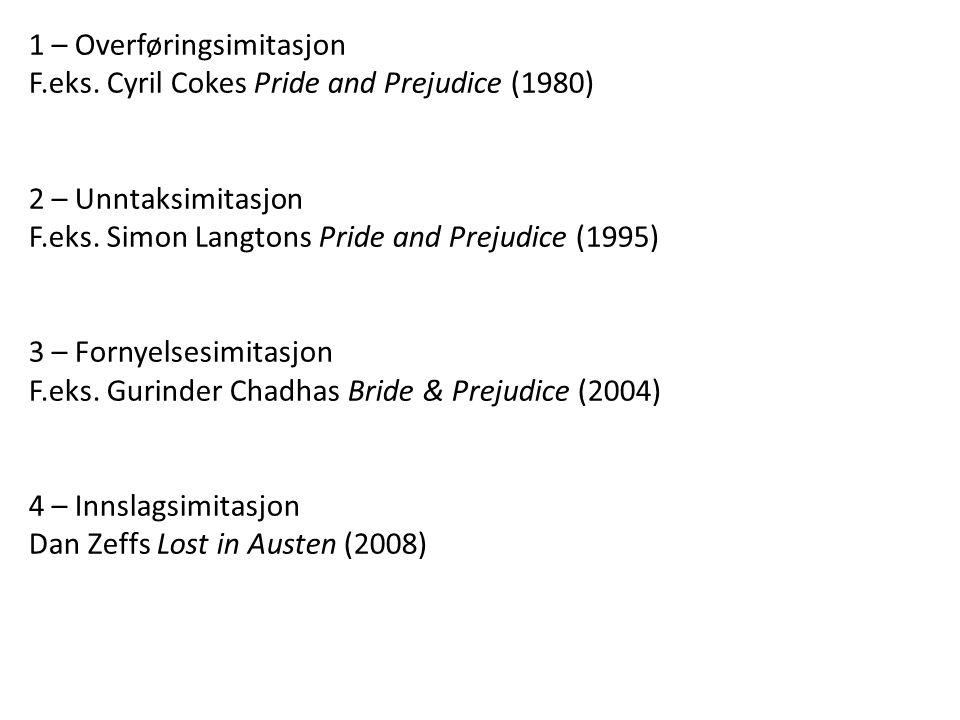 1 – Overføringsimitasjon F.eks. Cyril Cokes Pride and Prejudice (1980) 2 – Unntaksimitasjon F.eks. Simon Langtons Pride and Prejudice (1995) 3 – Forny