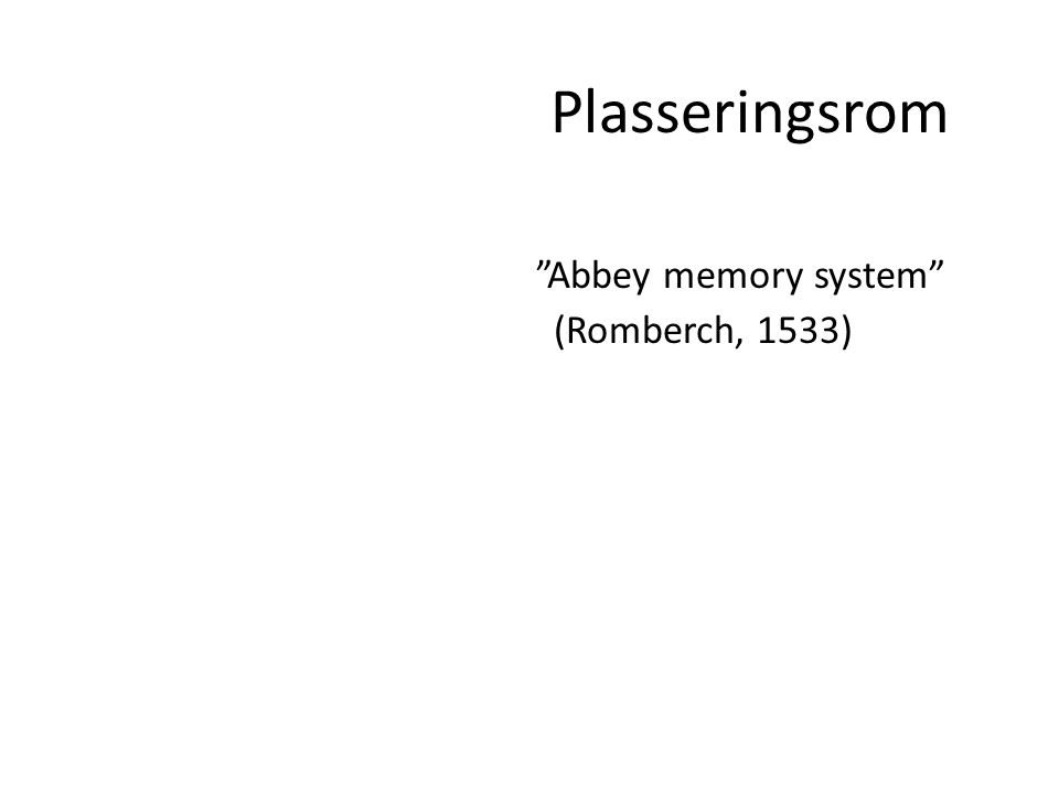 Plasseringsrom Abbey memory system (Romberch, 1533)