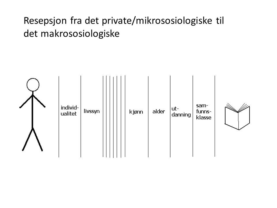 Resepsjon fra det private/mikrososiologiske til det makrososiologiske