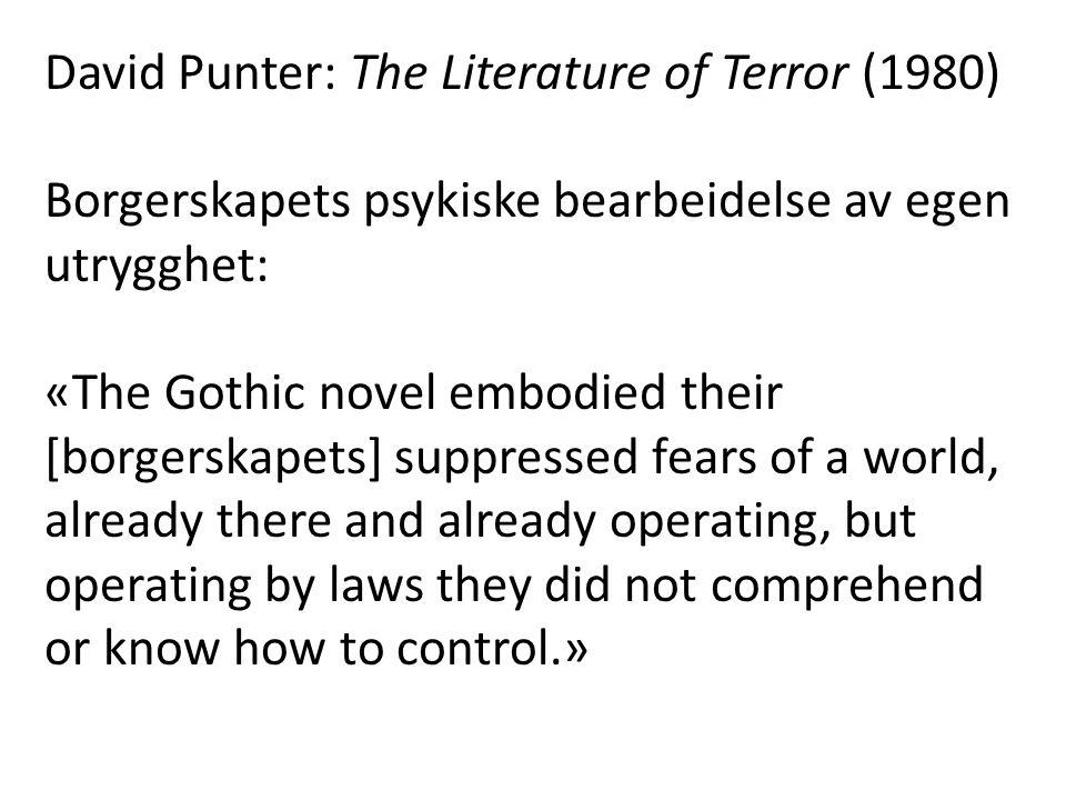 David Punter: The Literature of Terror (1980) Borgerskapets psykiske bearbeidelse av egen utrygghet: «The Gothic novel embodied their [borgerskapets]