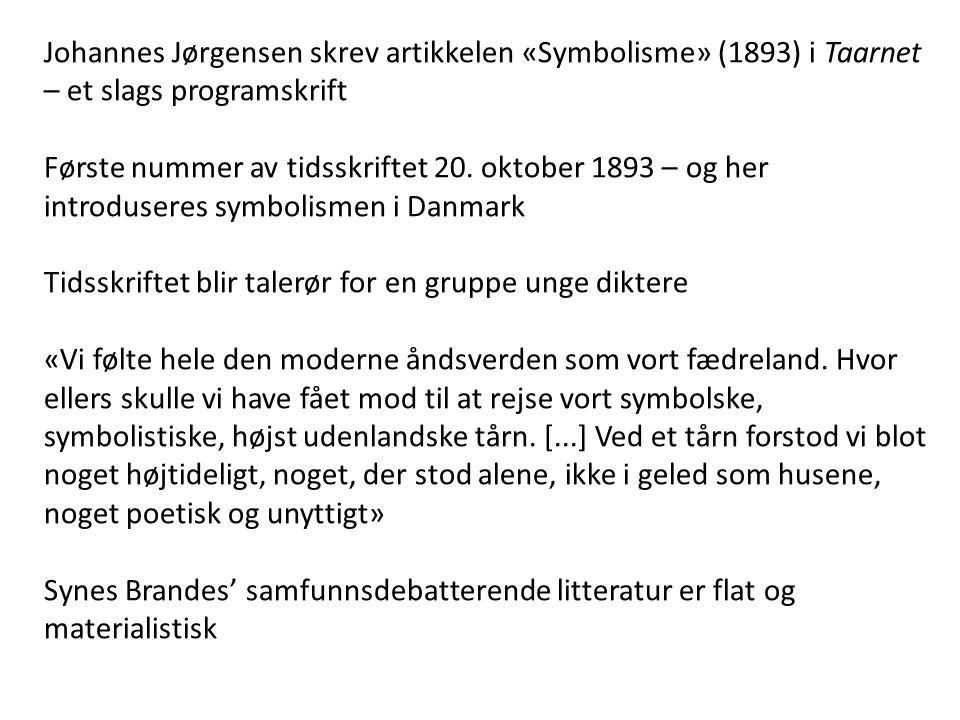 Johannes Jørgensen skrev artikkelen «Symbolisme» (1893) i Taarnet – et slags programskrift Første nummer av tidsskriftet 20.