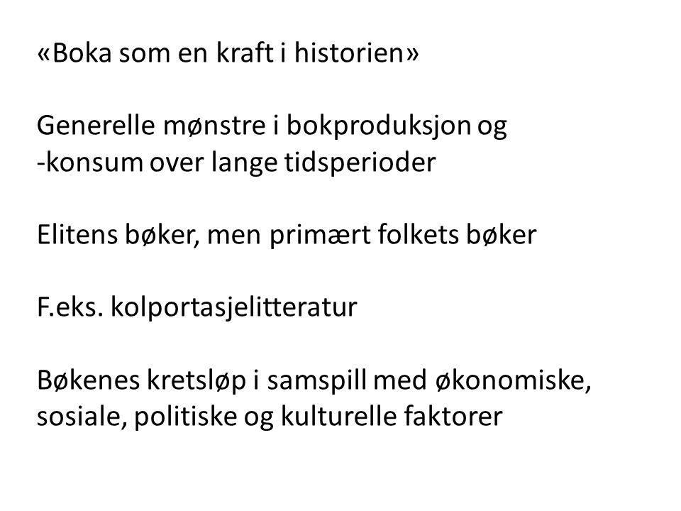 Rolf Engelsing «Leserevolusjonen» i Europa på 1700-tallet «intensiv lesing» versus «ekstensiv lesing» Dårlige leseferdigheter Darnton s.