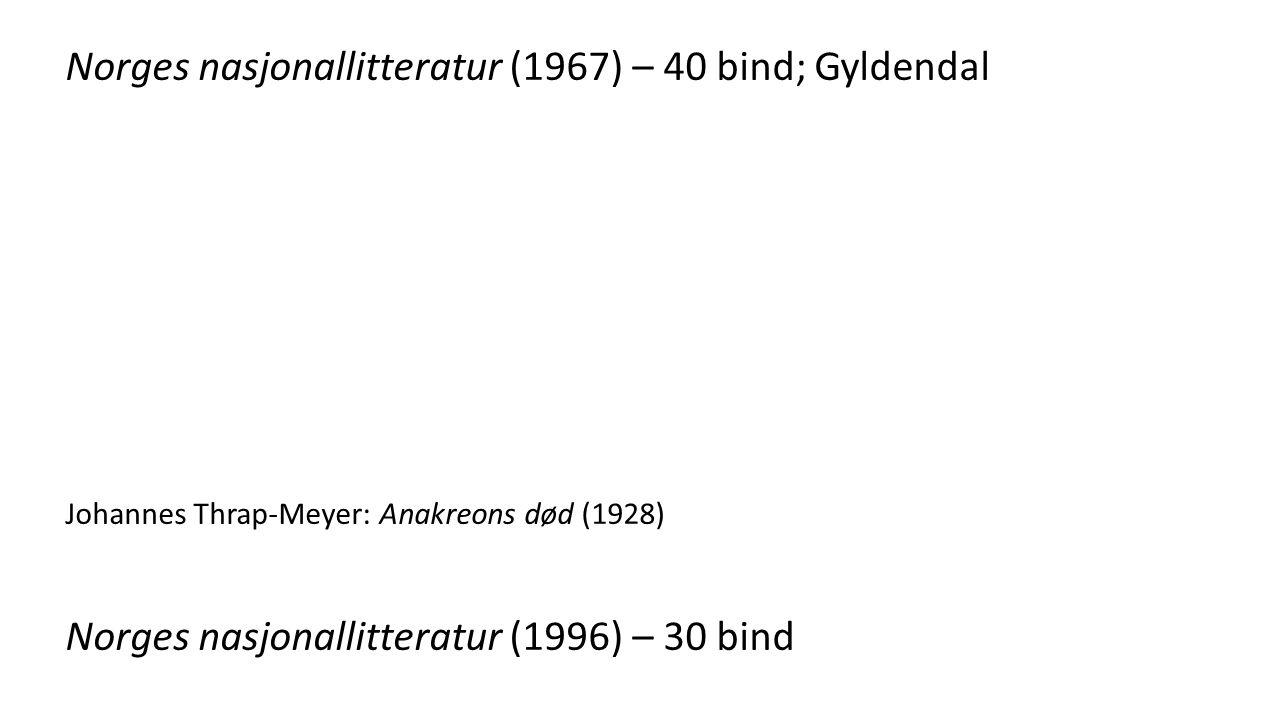 Norges nasjonallitteratur (1967) – 40 bind; Gyldendal Johannes Thrap-Meyer: Anakreons død (1928) Norges nasjonallitteratur (1996) – 30 bind