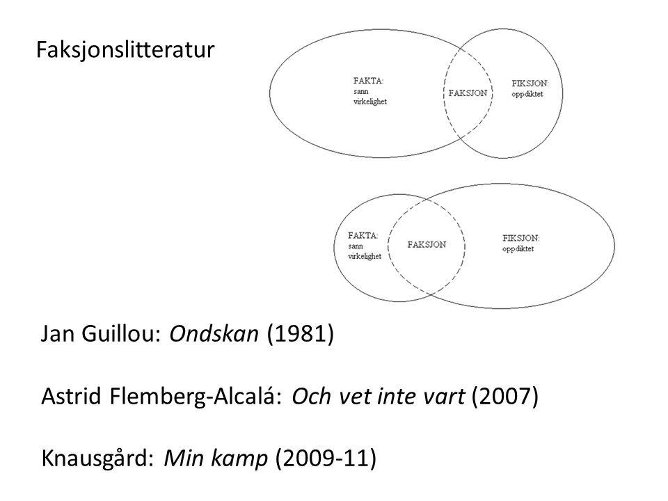 Faksjonslitteratur Jan Guillou: Ondskan (1981) Astrid Flemberg-Alcalá: Och vet inte vart (2007) Knausgård: Min kamp (2009-11)