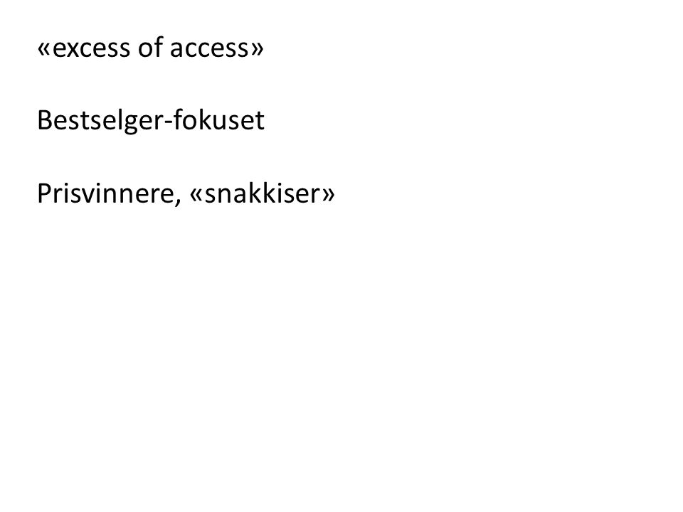 «excess of access» Bestselger-fokuset Prisvinnere, «snakkiser»