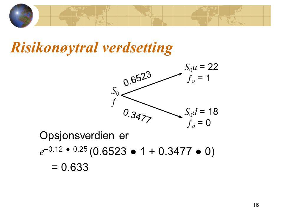 Risikonøytral verdsetting Opsjonsverdien er e –0.12 ● 0.25 (0.6523 ● 1 + 0.3477 ● 0) = 0.633 16 S 0 u = 22 ƒ u = 1 S 0 d = 18 ƒ d = 0 S0ƒS0ƒ 0.6523 0.