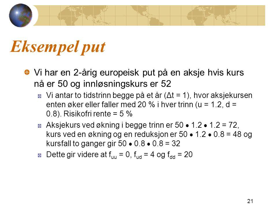 Eksempel put Vi har en 2-årig europeisk put på en aksje hvis kurs nå er 50 og innløsningskurs er 52 Vi antar to tidstrinn begge på et år (Δt = 1), hvo