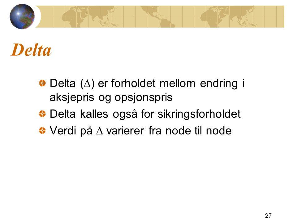 Delta Delta (  ) er forholdet mellom endring i aksjepris og opsjonspris Delta kalles også for sikringsforholdet Verdi på  varierer fra node til node