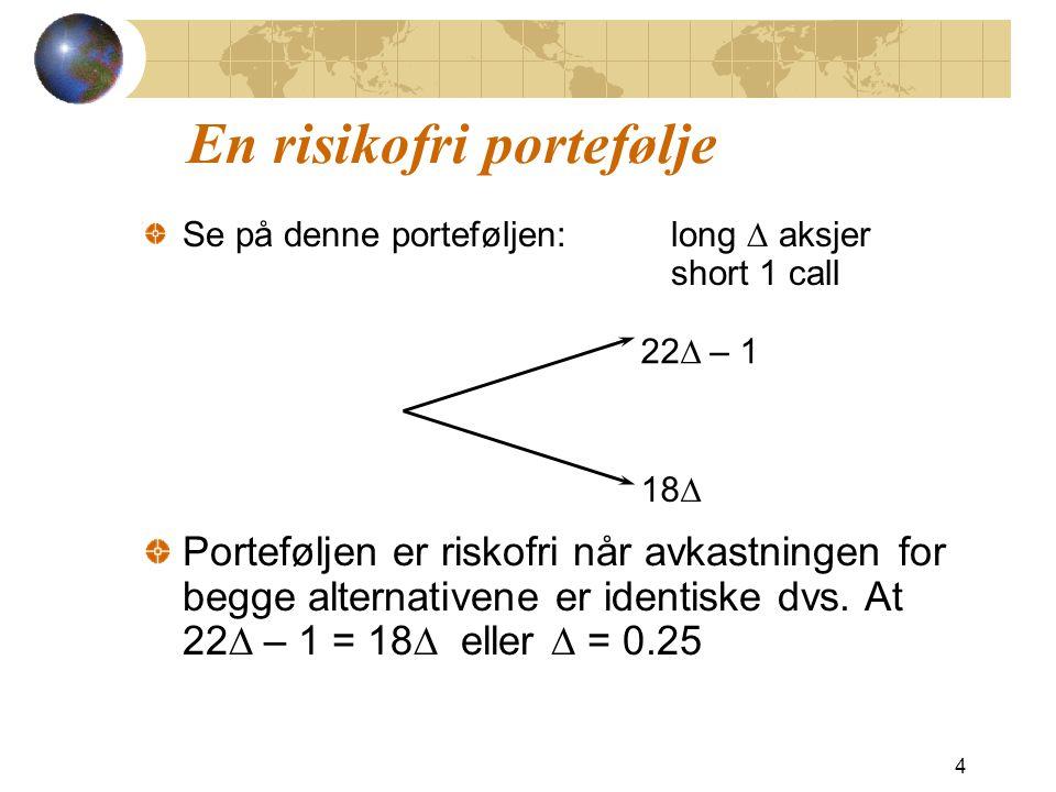 Opprinnelig eks på nytt Siden p er sannsynligheten som gir at aksjeavkastning lik risikofri rente, kan vi finne p ut fra sammenhengen at 20 e 0.12 * 0.25 = 22p + 18(1 – p ) som gir at p = 0.6523 Alternativt kan vi bruke formelen at 15 S 0 u = 22 ƒ u = 1 S 0 d = 18 ƒ d = 0 S0 ƒS0 ƒ p (1  – p )