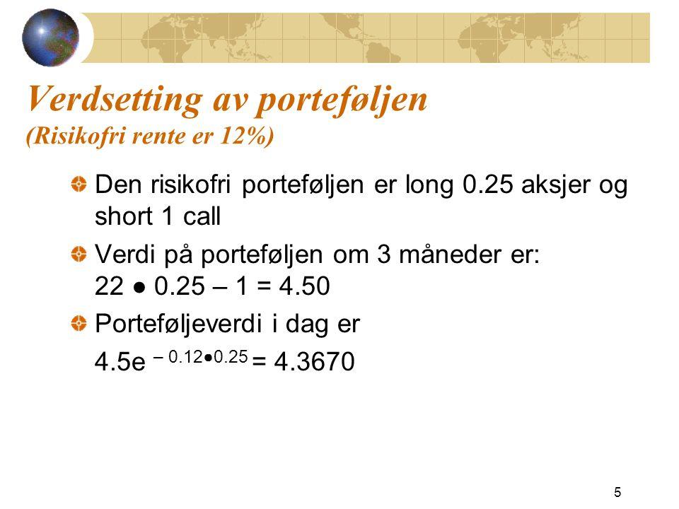 Verdsetting av porteføljen (Risikofri rente er 12%) Den risikofri porteføljen er long 0.25 aksjer og short 1 call Verdi på porteføljen om 3 måneder er: 22 ●  0.25 – 1 = 4.50 Porteføljeverdi i dag er 4.5e – 0.12●0.25 = 4.3670 5