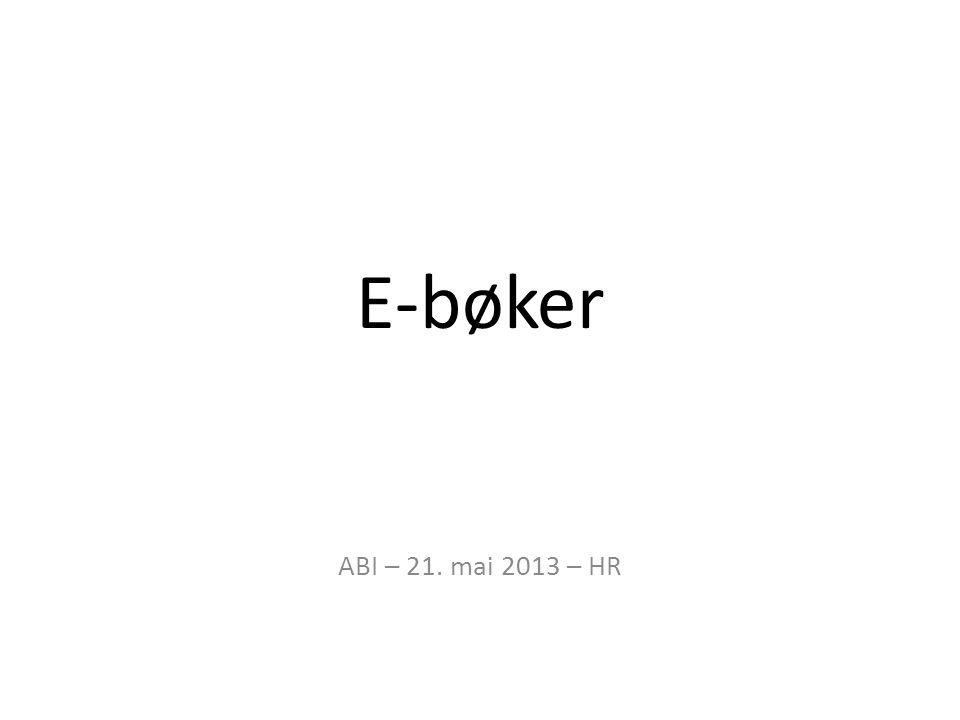 E-bøker ABI – 21. mai 2013 – HR
