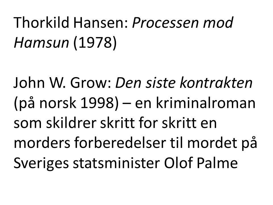 Thorkild Hansen: Processen mod Hamsun (1978) John W. Grow: Den siste kontrakten (på norsk 1998) – en kriminalroman som skildrer skritt for skritt en m