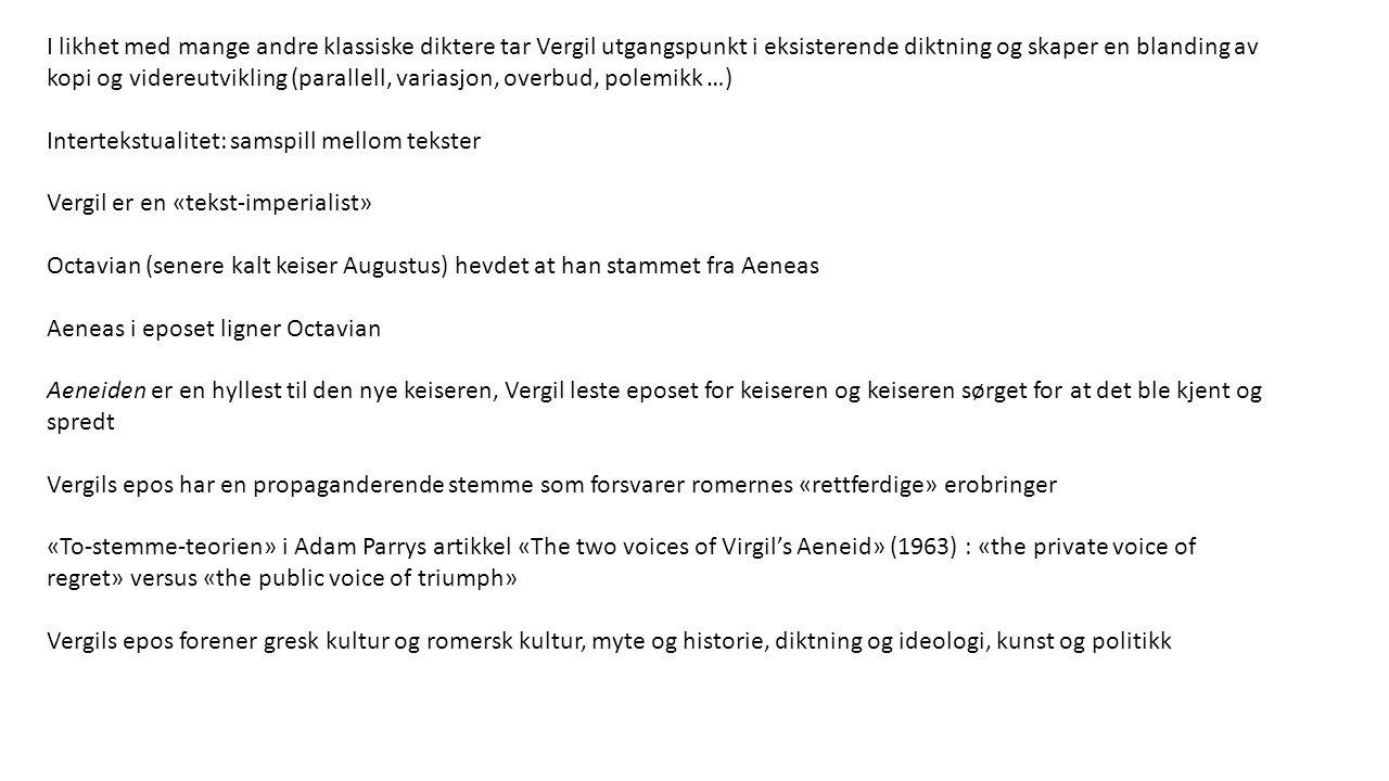 Middelalderen «Allegori» kommer fra gresk og betyr «å tale på en annen måte», «å si noe gjennom noe annet» (si x gjennom å si y) Mange middelaldertekster ble skrevet som allegorier og/eller tolket allegorisk Bokstavmystikk og navnesymbolikk Sentre for litterær produksjon: landsbyene (primært muntlig litteratur), klostrene, konge- og adelshoffene, byene (noen med universiteter) Dante Alighieri: Den guddommelige komedie – et epos ferdigskrevet ca.
