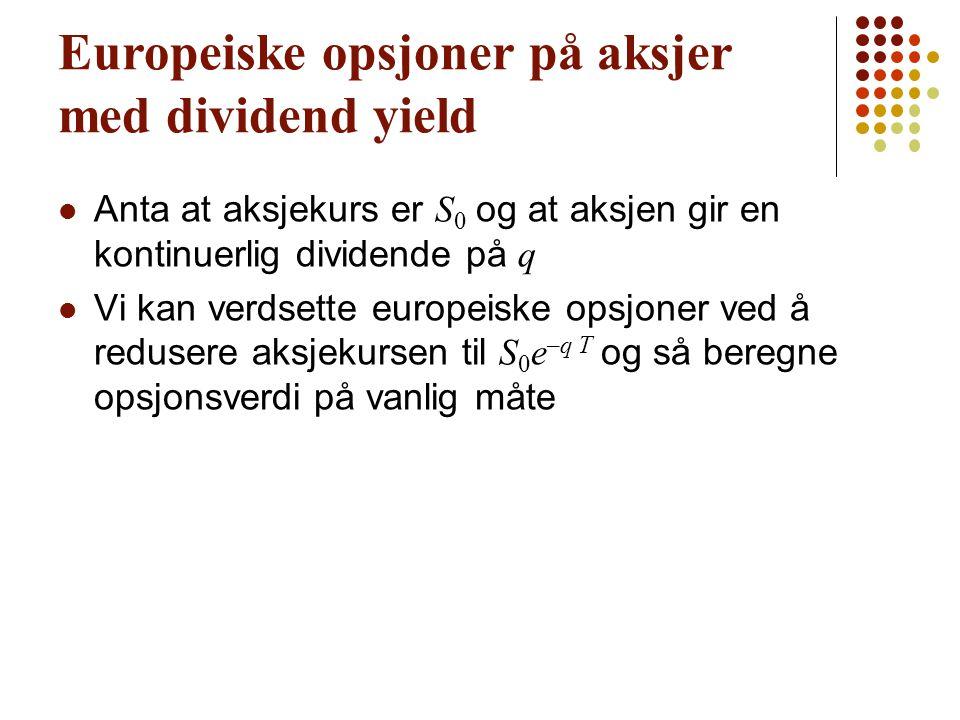 Prisingsformel for opsjoner med dividend yield (Equations 15.4 and 15.5)