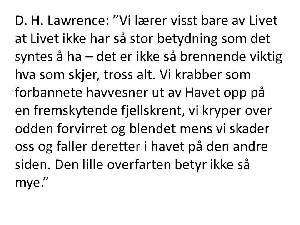 """D. H. Lawrence: """"Vi lærer visst bare av Livet at Livet ikke har så stor betydning som det syntes å ha – det er ikke så brennende viktig hva som skjer,"""