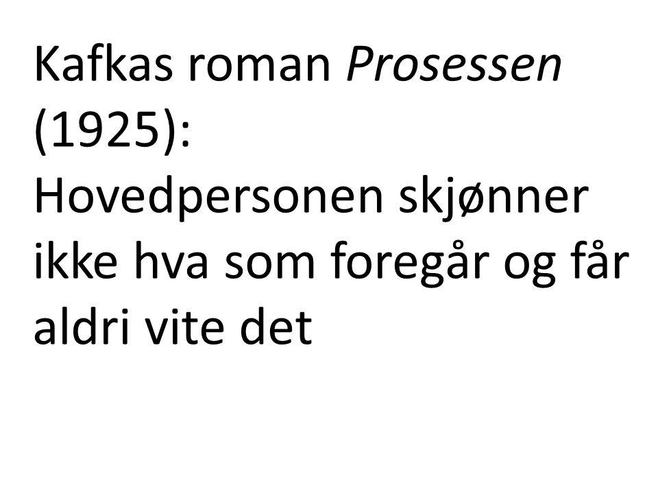 Kafkas roman Prosessen (1925): Hovedpersonen skjønner ikke hva som foregår og får aldri vite det