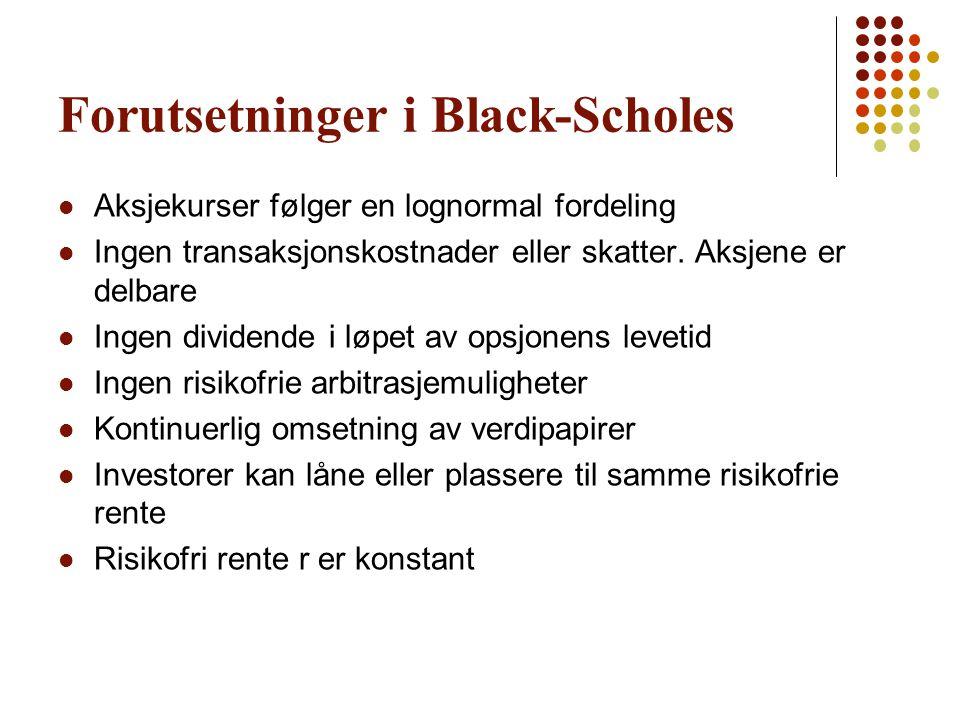 Forutsetninger i Black-Scholes Aksjekurser følger en lognormal fordeling Ingen transaksjonskostnader eller skatter. Aksjene er delbare Ingen dividende