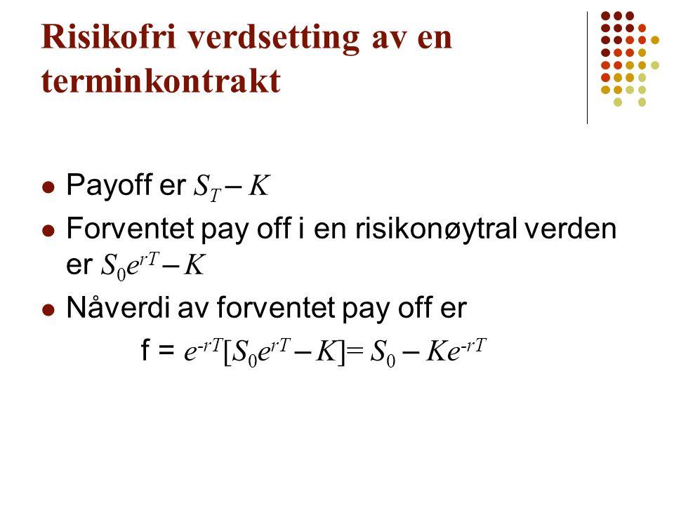 Risikofri verdsetting av en terminkontrakt Payoff er S T – K Forventet pay off i en risikonøytral verden er S 0 e rT – K Nåverdi av forventet pay off