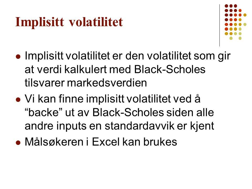 Implisitt volatilitet Implisitt volatilitet er den volatilitet som gir at verdi kalkulert med Black-Scholes tilsvarer markedsverdien Vi kan finne impl